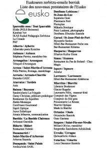Eusko Les 49 nouveaux prestataires