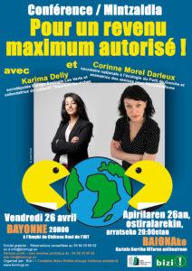 Pour un revenu maximum autorisé : avec Karima Delly et Corinne Morel Darleux @ IUT   Bayonne   Aquitaine   France