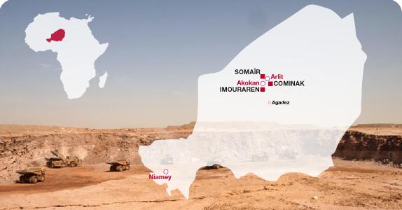 Implantations d'Areva au Niger : présent au Niger depuis plus de 50 ans, AREVA exploite dans le départementd'Arlit, au nord du pays, deux sites miniers, SOMAÏR et COMINAK, et développe à proximité le nouveau site d'Imouraren.