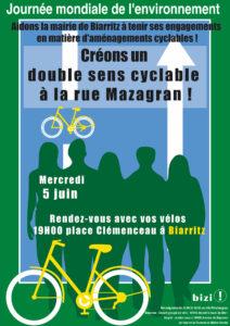 """Journée Mondiale de l'Environnement - """"Créons un double sens cyclable à la rue Mazagran !"""" @ Place Clémenceau   Biarritz   Aquitaine   France"""