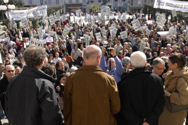 """""""Le syndicalisme agricole n'a pas attendu la création d'une Chambre d'Agriculture"""" (Photo : Mobilisation de soutien à EHLG (la Chambre d'Agriculture Alternative du Pays Basque))"""