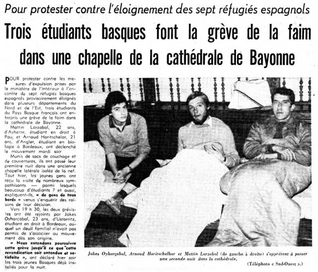 Grève de la faim de Mattin Larzabal, Beñat Oyhartzabal, Eñaut Haritschelhar,