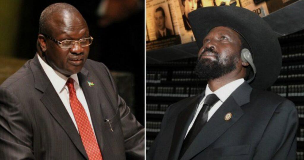L'ex-Premier ministre Riek Machar (à gauhe) et le Président Salva Kiir (à droite) du Sud-Soudan