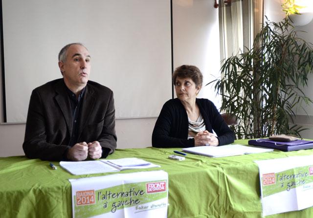 """Jean-Claude Iriart et Martine Mailfert ont présenté à Bayonne """"l'alternative à gauche"""", composée de Baiona 2014 et du Front de gauche"""