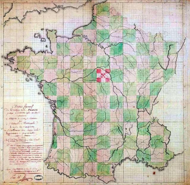 """En 1789, l'Assemblée Nationale ne fut-elle d'ailleurs pas officiellement saisie du surprenant projet (du très sérieux Comité Siéyès-Thouret) purement géométrique de 81 départements carrés, divisés chacun en 9  """"communes"""" carrées elles-mêmes divisées en 9 """"cantons"""" tout aussi carrés ?"""