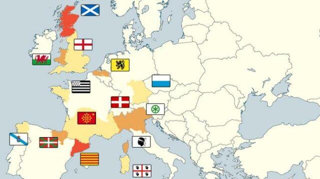 Independentzia hein ezberdinetan aipatzen den Europako zonbait eskualde