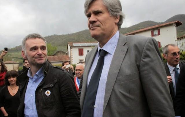 Laurent Pinatel, président de la Confédération Paysanne au côté du Ministre Stéphane Le Foll