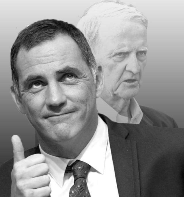 « Gilles Simeoni, avocat et maire de Bastia, nouveau président de l'exécutif corse. En arrière plan, son père, Edmond Siméoni, leader charismatique du nationalisme corse. » Couverture d'Enbata de janvier 2016.
