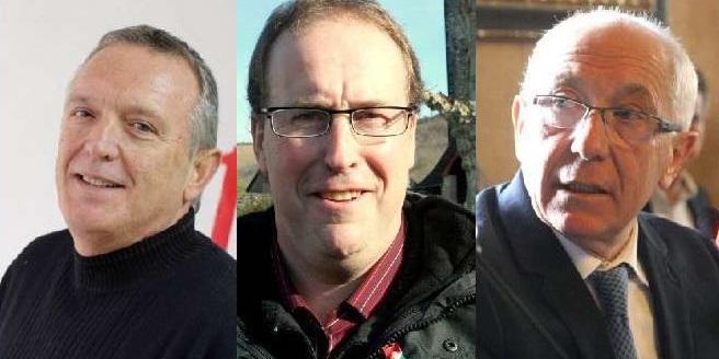 Les trois candidats à la présidence de l'EPCI unique Pays Basque : Jean-Jacques Doyhénart, conseiller communautaire communiste d'Anglet , Bernard Lougarot (divers gauche), maire de Gotein-Libarrenx; et Jean-René Etchegaray, maire (UDI) de Bayonne.