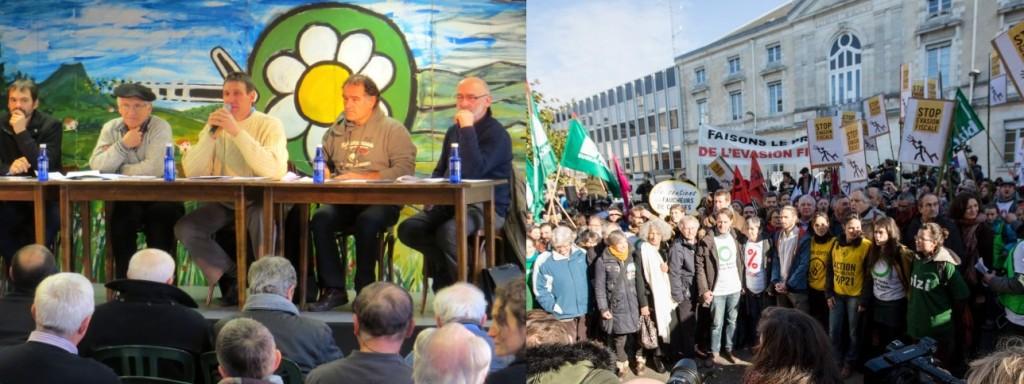 12è anniversaire d'EHLG (à gauche) et Procès de l'évasion fiscale (à droite).