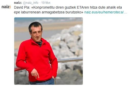 David Pla, porte-parole d'ETA incarcéré à Paris et délégué d'ETA en charge de la résolution du conflit.