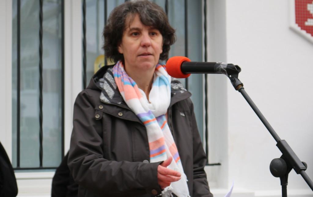 Prise de parole de Martine Bouchet (CADE & StopMines-EH) le 11 février 2017 à Espelette devant les 1000 manifestants anti-mines d'or.