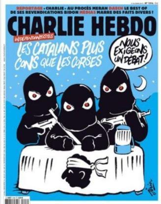 """La une du dernier Charlie hebdo cette semaine. Elle est suivie d'un éditorial à vomir, """"La connerie ou la mort"""", signé par Riss. Après l'islamophobie, la catalanophobie."""