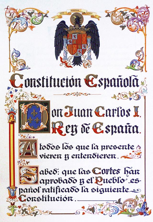 Espainiako 1978ko konstituzioaren alearen hastapena.
