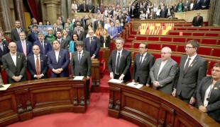Parlement catalan après le vote historique créant la république de Catalogne, le 27 octobre 2017.