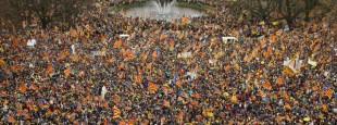 Jeudi 7 décembre 2017, 45 000 partisans de l'indépendance de la Catalogne dans les rues de Bruxelles.