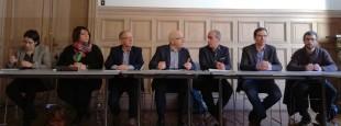 Conférence de Presse du samedi 3 mars à la Mairie de Bayonne avec un certain nombre d'élus de premier plan faisant partie des signataires de l'appel « Oui à l'innovation ! » proposé par l'association Euskal Moneta et demandant à l'État de favoriser l'innovation que constitue les paiements en eusko par la Ville de Bayonne.