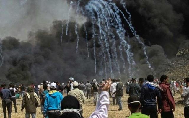 Manifestation pour réclamer le retour des réfugiés et la fin du blocus de Gaza par Israël en avril 2018