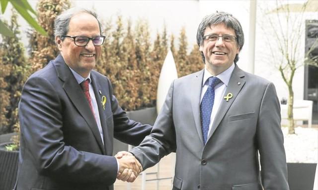 Quim Torra avec Carles Puigdemont.