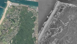 Vue aérienne d'Anglet : évolution en 50 ans