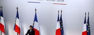 """En marge de son voyage en Corse, en février 2018, Emmanuel Macron avait tenu des propos très révélateurs sur sa vision des langues dites """"régionales""""  afp.com/Ludovic MARIN"""