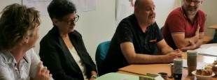 Conférence de presse, du vendredi 28 juin dans les locaux du CDDPB à la CCI (B.103), avec le nouveau Président du Conseil de développement du Pays Basque, Paxkal Indo (à droite sur la photo) et les membres de son Bureau élu la veille par le Conseil de direction du
