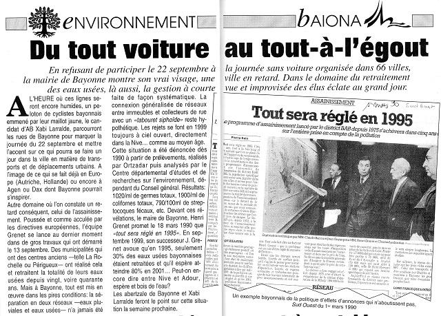 N° 1594 du 23 septembre 1999, Enbata annonce une des premières manifestations  en deux roues, en faveur des pistes cyclabes à Bayonne.