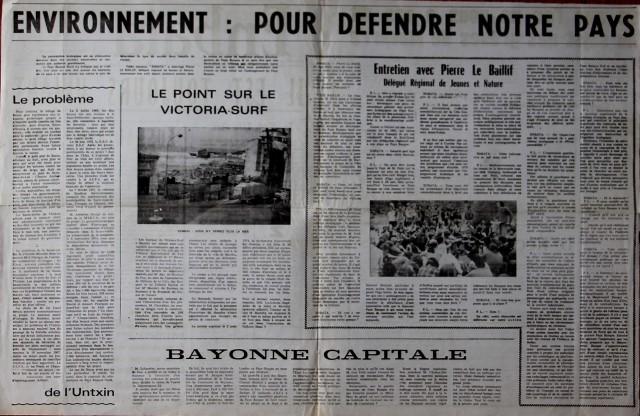 La page intérieure du n° 337 du 30 janvier 1975 fait le point sur les combats écologistes du moment.