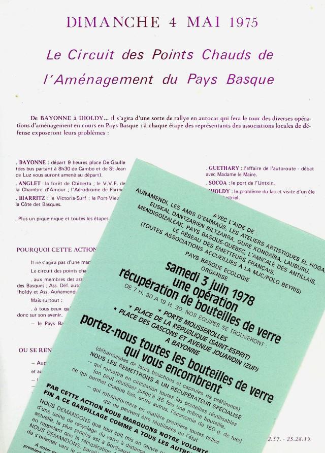Deux tracts, l'un de Jeunes et Nature sur les sites en péril en Iparralde et l'autre de Pays Basque écologie, sur la récupération du verre soutenue par plusieurs associations culturelles basques.