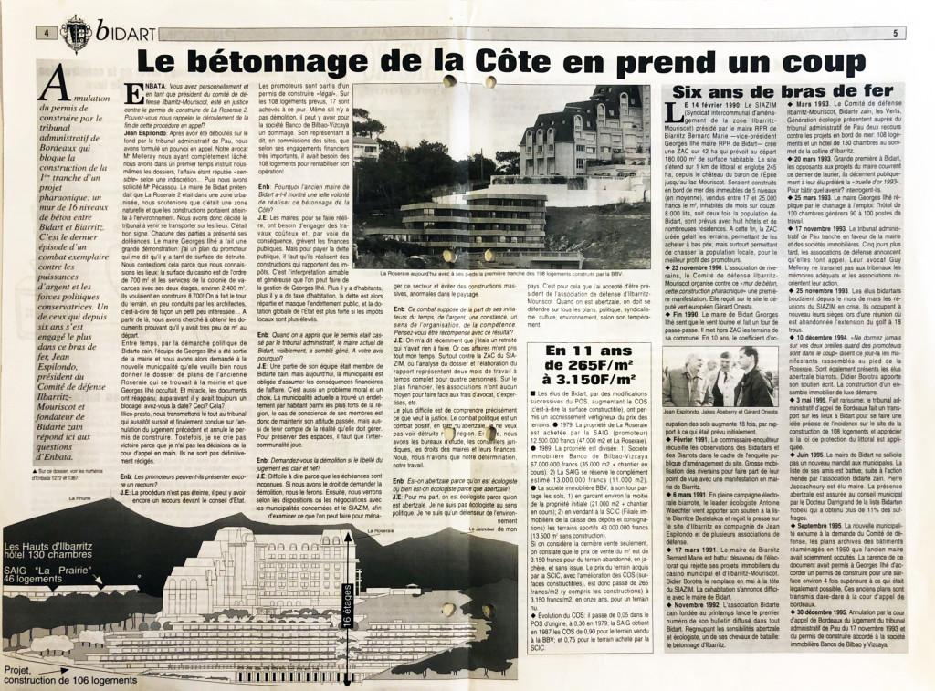 N° 1409 du 11 janvier 1996, dossier sur l'annulation du projet des Hauts d'Ilbarritz à Bidart grâce au combat de l'association dirigée par Jean Espilondo.