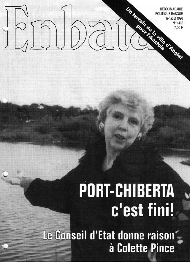 La une du n° 1436 titre joyeusement sur la victoire de Colette Pince et son association contre un projet de marina à la Barre d'Anglet