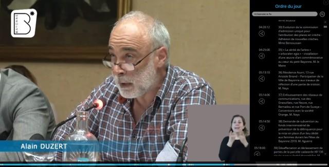Cliquer sur l'image pour entendre l'intervention complète d'Alain Duzert, lors du débat du conseil municipal de Bayonne qui eut lieu le 5 avril 2018,