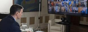 Le Président du Gouvernement Espagnol, Pedro Sanchez en vidéo-conférence avec les Présidents des gouvernements autonomes.