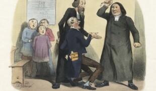 Nouvelle loi sur l'enseignement : — Ce sont les instituteurs qui reçoivent la férule. Vêtus en ecclésiastiques, Alfred de Falloux et Charles de Montalembert s'apprêtent à bâtonner un instituteur. Caricature de la « petite loi sur l'instruction » ou loi Parieu, estampe de Charles Vernier, 1850.