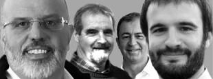 """Couverture de l'Enbata n° 2359 du 1er Juillet 2020 """"Municipales, les Abertzale en force"""" avec les maires abertzale Philippe Aramendi (Urruña), Mikel Hiribarren (Itsasu),  Bruno Carrere (Uztaritze), Eneko Aldana Douat (Ziburu)."""