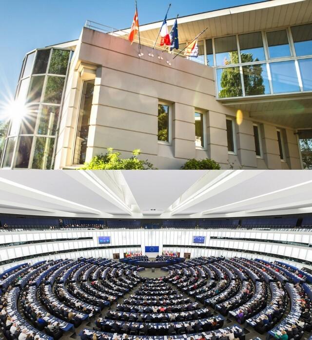 Communauté d'Agglomération Pays Basque (en haut) et Parlement de Strasbourg (en bas)