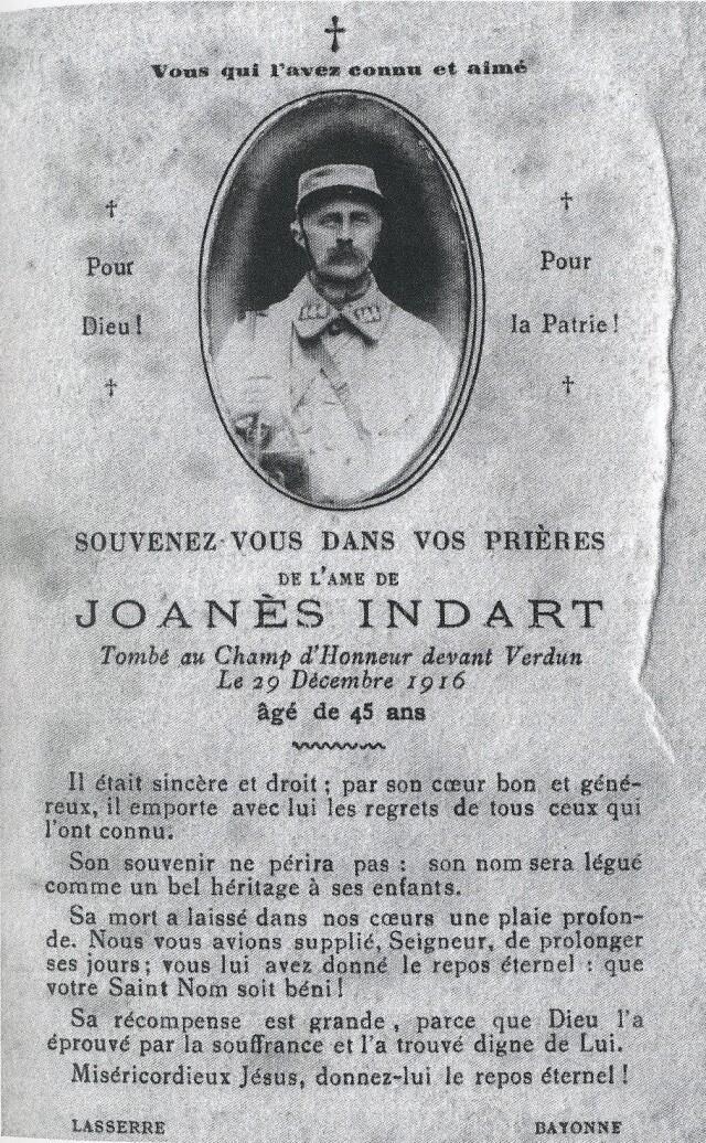 Image mortuaire de Joanes Indart, natif de  Baigorri. Terres de Navarre.