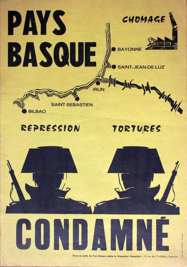 Affiche parue au moment du procès de Burgos. Sur une idée de Jakes Abeberry, dessin et montage ont été réalisés par Fiol, réfugié catalan en Iparralde.
