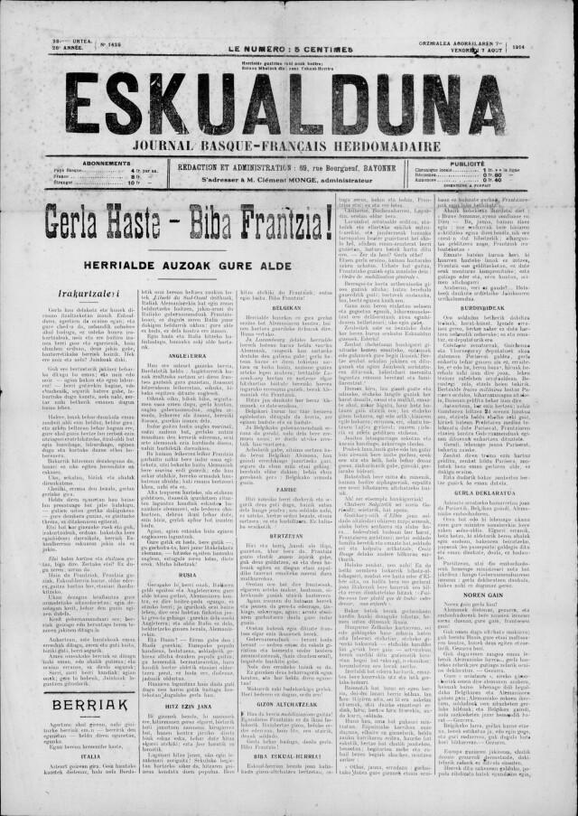 Le 7 août 1914, la une de Eskualduna, journal catholique et conservateur où s'expriment la plupart des écrivains basques de l'époque.