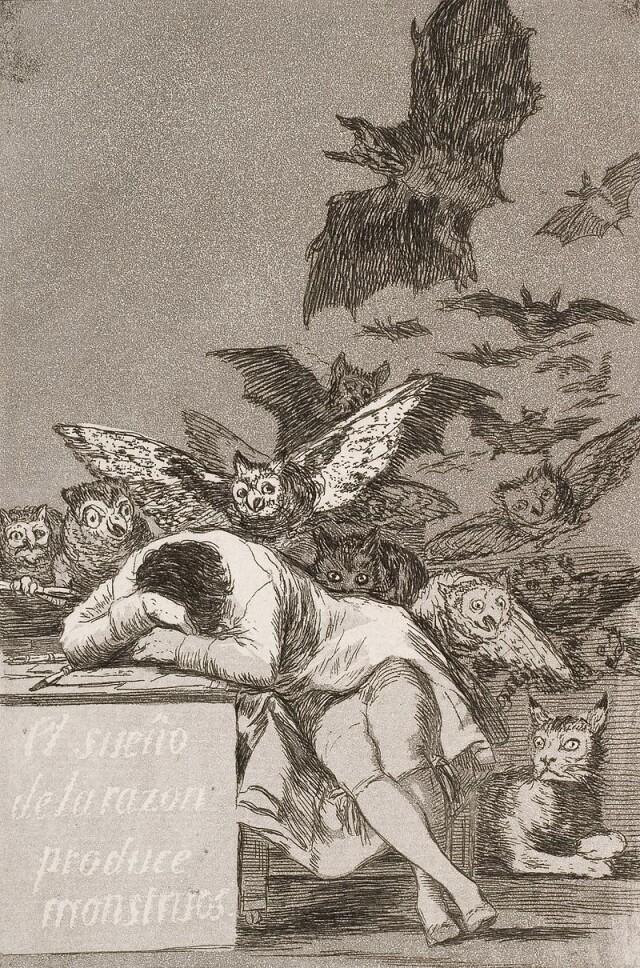 Gravure de Francisco Goya, «Le sommeil de la raison engendre des monstres», 1799.