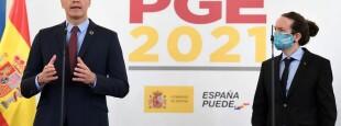 Pedro Sánchez et Pablo Iglesias, lors e la présentation du budget 2021 de l'Etat.
