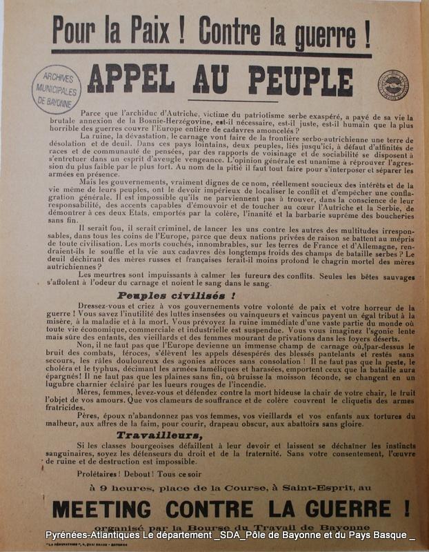 Quelques jours avant la déclaration de guerre, Fernand Elosu et quelques amis de gauche tentent d'organiser un meeting contre la guerre à Bayonne, ils distribuent ce tract.