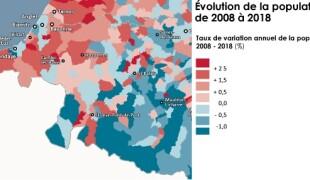 Taux de variation annuel de la population 2008-2018 (AUDAP)