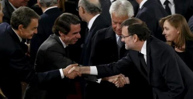 Les quatre premiers ministres à l'origine des mesures de grâce en faveur de tortionnaires: Rodriguez Zapatero (PSOE), José Maria Aznar (PP), Felipe Gonzalez (PSOE) et Mariano Rajoy (PP)