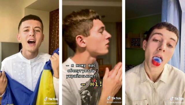 Danylo Haïdamakha, 20 ans, est devenu une star de TikTok avec ses vidéos humoristiques sur la langue ukrainienne, dont il est un ardent défenseur. De gauche à droite, il tient le drapeau ukrainien, il dit « Je peux vous servir en ukrainien » et tire la langue avec le drapeau russe.