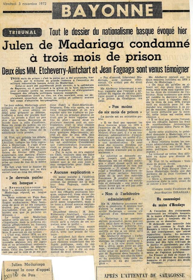 Compte-rendu du procès de Iulen Madariaga, Sud-Ouest du 3 novembre 1972.