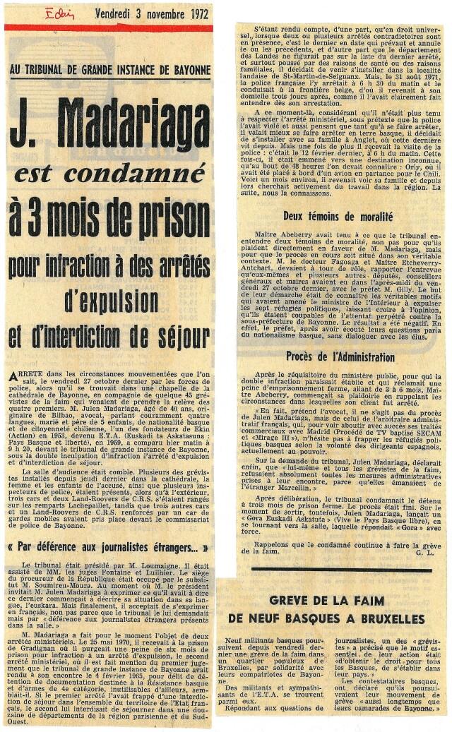 Compte-rendu du procès de Iulen Madariaga, Basque-Eclair du 3 novembre 1972.