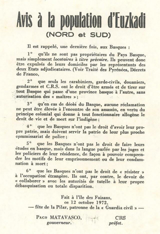 Tract de Marc Légasse diffusé au moment de la grève de la faim de 1972.