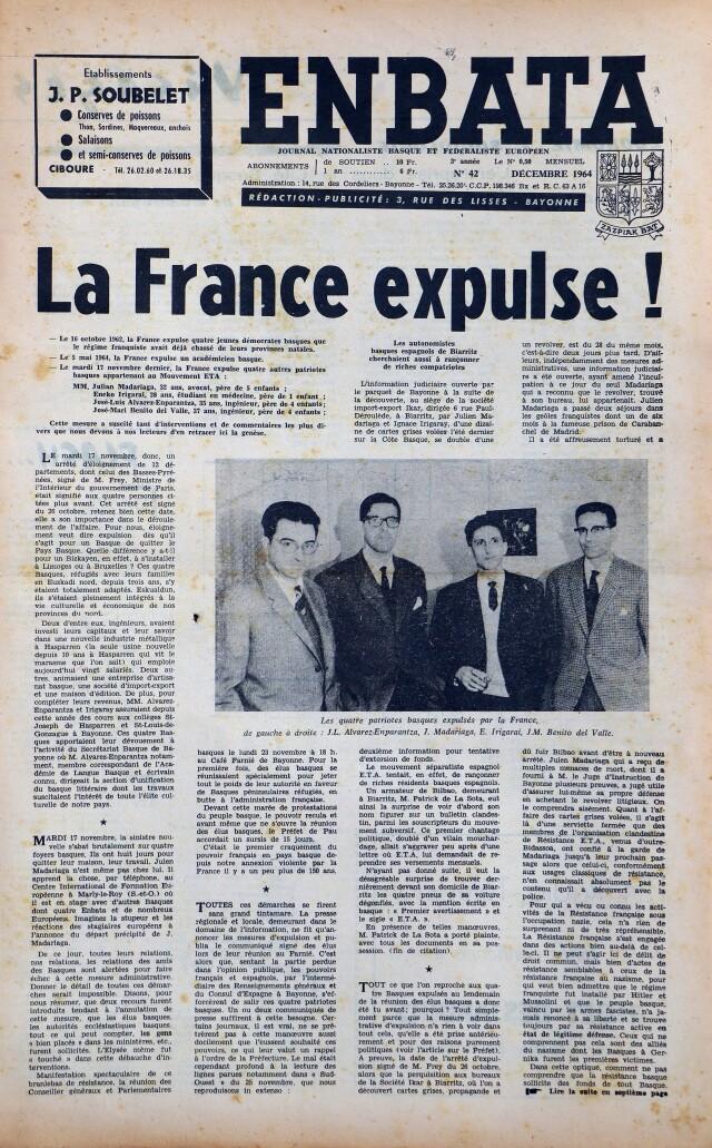 La une du N° 42 d'Enbata annonce l'expulsion des quatre fondateurs d'ETA.