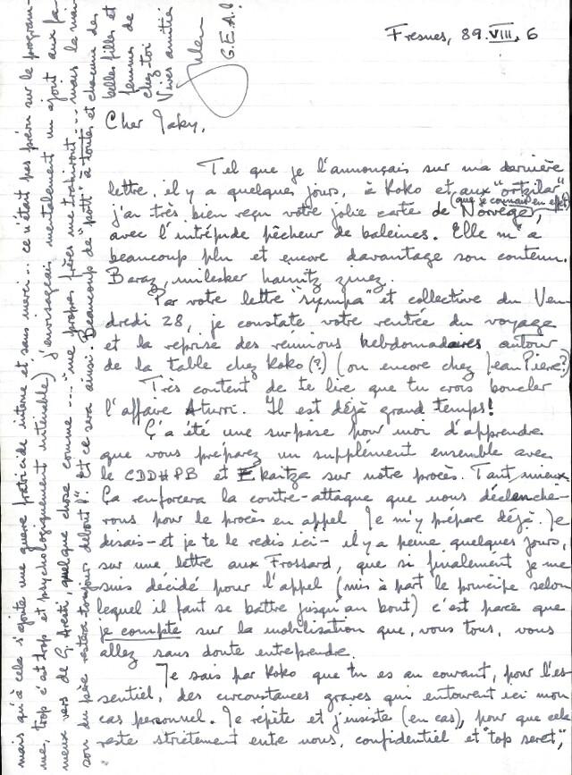 Lettre de Iulen Madariaga incarcéré à Fresnes (6 août 1989), adressée à Jakes Abeberry.
